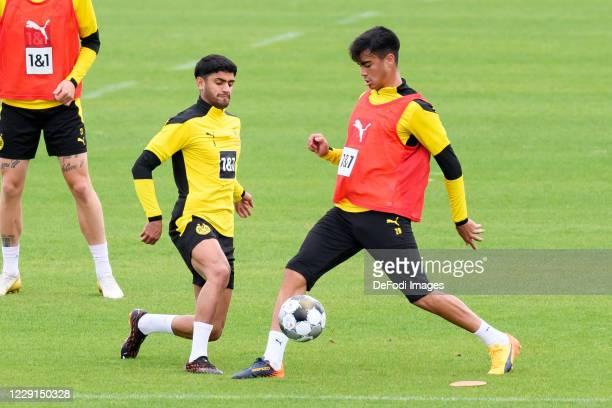 Mahmoud Dahoud of Borussia Dortmund and Reinier of Borussia Dortmund battle for the ball during the Borussia Dortmund Training session on September...