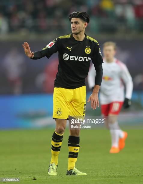 Mahmoud Dahoud of Borussia Dortmund gestures during the Bundesliga match between RB Leipzig and Borussia Dortmund at Red Bull Arena on March 3 2018...