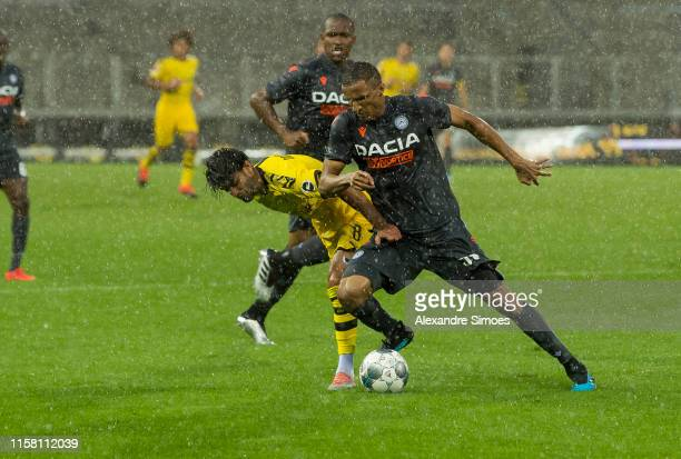 Mahmoud Dahoud of Borussia Dortmund in action during a friendly match against Udinese Calcio as part of Borussia Dortmund's Training Camp at the...