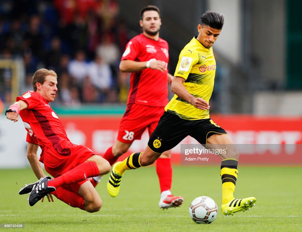 Mahmoud Dahoud of Borussia Dortmund in action during the DFB Cup match between 1. FC Rielasingen-Arlen and Borussia Dortmund at Schwarzwald-Stadion on August 12, 2017 in Freiburg im Breisgau, Germany.