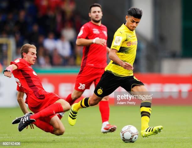 Mahmoud Dahoud of Borussia Dortmund in action during the DFB Cup match between 1 FC RielasingenArlen and Borussia Dortmund at SchwarzwaldStadion on...
