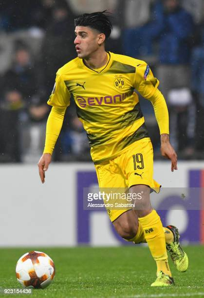 Mahmoud Dahoud of Borussia Dortmund in action during UEFA Europa League Round of 32 match between Atalanta and Borussia Dortmund at the Mapei Stadium...