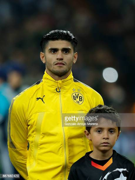 Mahmoud Dahoud of Borussia Dortmund stands prior to start the UEFA Champions League group H match between Real Madrid and Borussia Dortmund at...