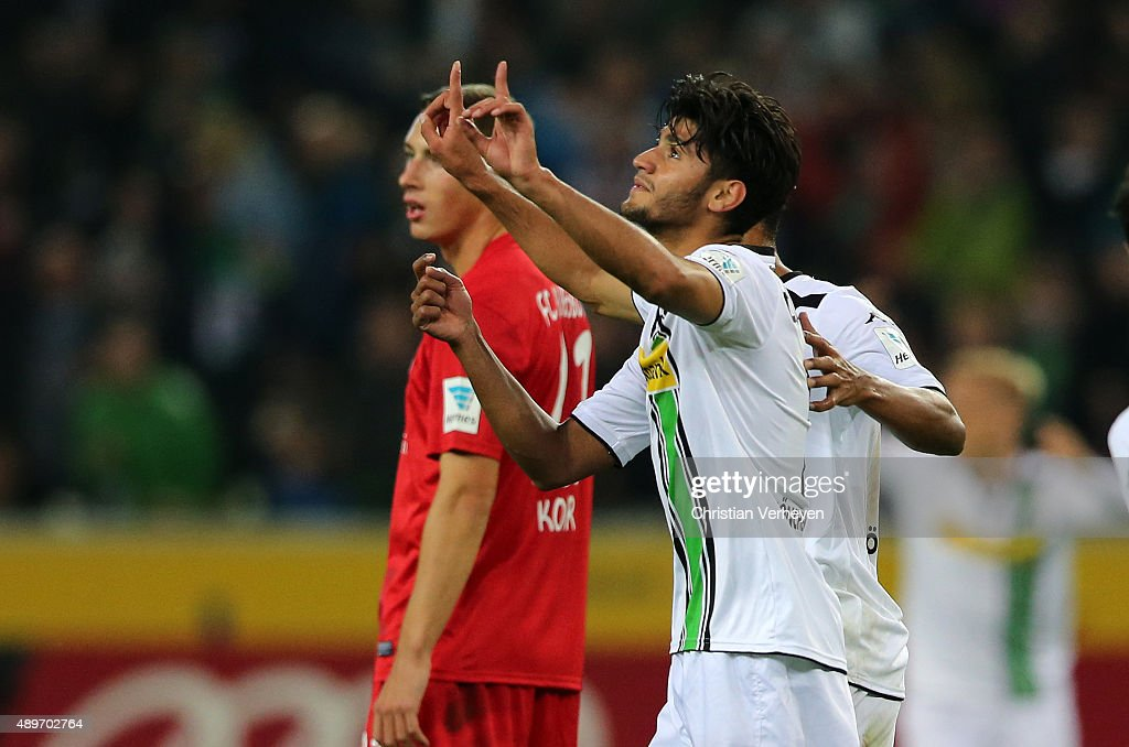 Mahmoud Dahoud of Borussia Moenchengladbach celebrate after the fourth goal during the Bundesliga match between Borussia Moenchengladbach and FC Augsburg at Borussia-Park on September 23, 2015 in Moenchengladbach, Germany