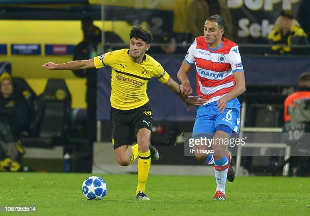 Mahmoud Dahoud of Dortmund and Sofyan Amrabat of Bruegge battle for the ball during the Group A match of the UEFA Champions League between Borussia...