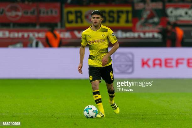 Mahmoud Dahoud of Dortmund controls the ball during the Bundesliga match between Bayer 04 Leverkusen and Borussia Dortmund at BayArena on December 2...