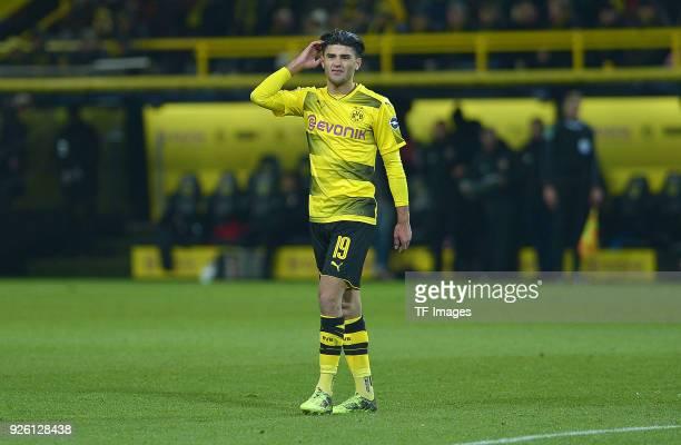 Mahmoud Dahoud of Dortmund gestures during the German Bundesliga match between Borussia Dortmund v FC Augsburg at the Signal Iduna Park on February...