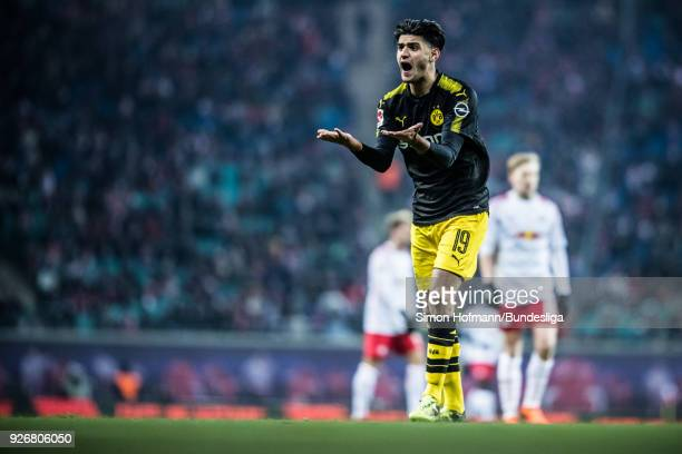 Mahmoud Dahoud of Dortmund is disappointed during the Bundesliga match between RB Leipzig and Borussia Dortmund at Red Bull Arena on March 3 2018 in...