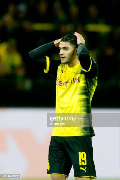 Mahmoud Dahoud of Dortmund looks dejected after the UEFA Europa League Round of 16 match between Borussia Dortmund and FC Red Bull Salzburg at the...