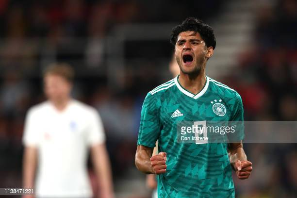 Mahmoud Dahoud of Germany celebrates after scoring his sides first goal during the International Friendly match between England u21's and Germany...
