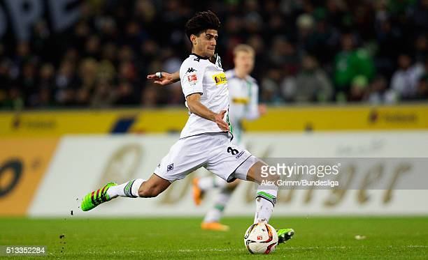 Mahmoud Dahoud of Moenchengladbach controles the ball during the Bundesliga match between Borussia Moenchengladbach and VfB Stuttgart at BorussiaPark...