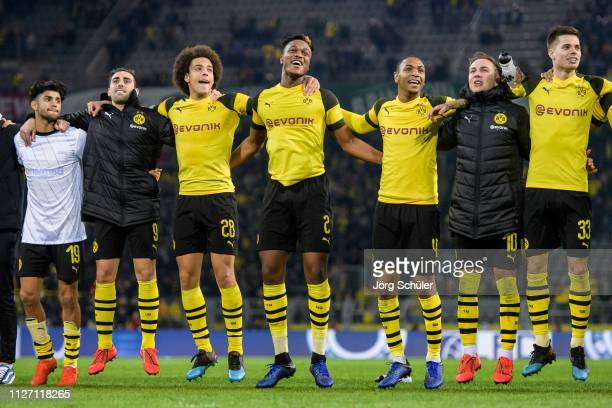 Mahmoud Dahoud Paco Alcacer Axel Witsel DanAxel Zagadou Abdou Diallo Mario Goetze and Julian Weigl celebrating their win after the Bundesliga match...