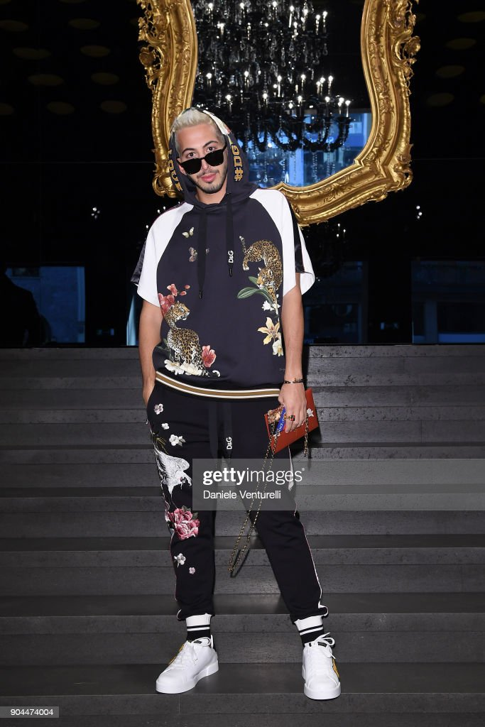 Mahmoud El Sidani attends the Dolce & Gabbana show during Milan Men's Fashion Week Fall/Winter 2018/19 on January 13, 2018 in Milan, Italy.