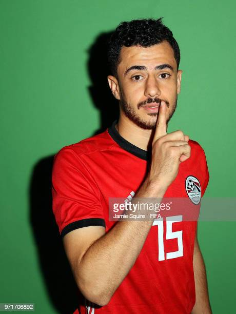 Mahmoud Hamdy of Egypt poses during the official FIFA World Cup 2018 portrait session at The Local hotel on June 11, 2018 in Grozny, Russia.