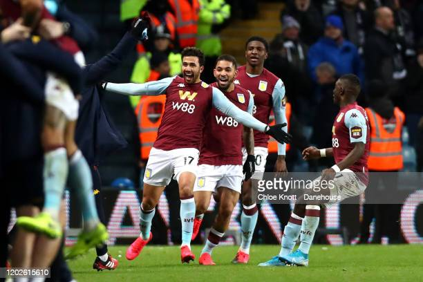 Mahmoud Hassan of Aston Villa celebrates scoring his teams second goal during the Carabao Cup Semi Final match between Aston Villa and Leicester City...