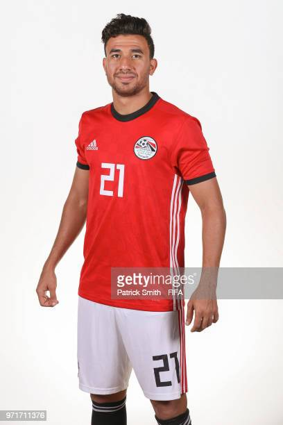 Mahmoud Hassan of Egypt poses for a portrait during the official FIFA World Cup 2018 portrait session at The Local Hotel on June 11, 2018 in Gronzy,...