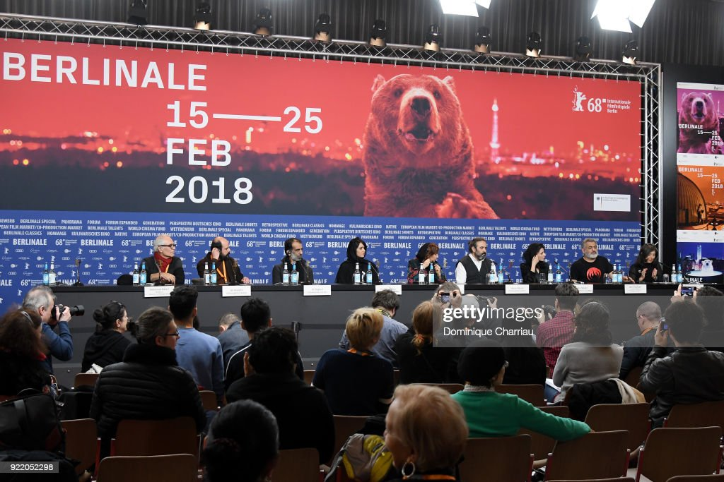 Mahmoud Kalari, Ali Mosaffa, Ali Bagheri, Parinaz Izadyar, Leili Rashidi, Hasan Majuni, Leila Hatami, Mani Haghighi and host Maria Giovanna Vagenas attend the 'Pig' (Khook) press conference during the 68th Berlinale International Film Festival Berlin at Grand Hyatt Hotel on February 21, 2018 in Berlin, Germany.