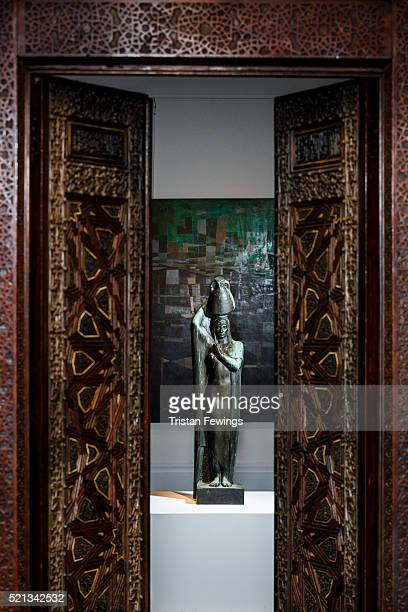 Mahmoud Mokhtar's sculpture On the Banks of the Nile and a pair of magnificent 14thcentury Mamluk carved wood and ivoryinlaid panels from Egypt are...