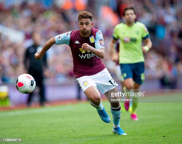 Mahmoud Trezeguet of Aston Villa during the Premier League match between Aston Villa and AFC Bournemouth at Villa Park on August 17 2019 in...