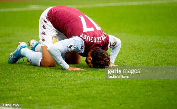 Mahmoud Trezeguet of Aston Villa during the Premier League match between Aston Villa and Liverpool FC at Villa Park on November 02 2019 in Birmingham...