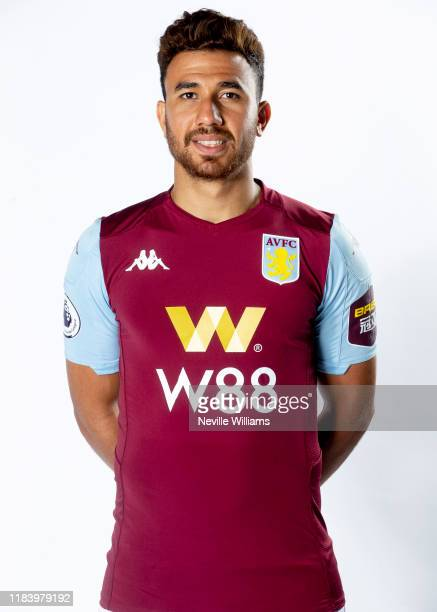 Mahmoud Trezeguet of Aston Villa poses for a portrait at Bodymoor Heath training ground on October 28 2019 in Birmingham England