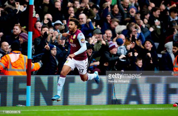 Mahmoud Trezeguet of Aston Villa scores for Aston Villa during the Premier League match between Aston Villa and Liverpool FC at Villa Park on...