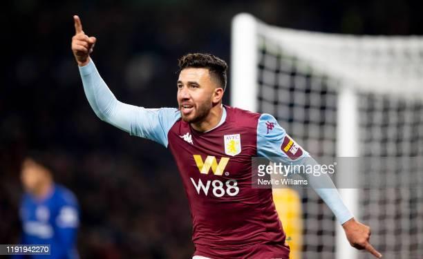 Mahmoud Trezeguet of Aston Villa scores for Aston Villa during the Premier League match between Chelsea FC and Aston Villa at Stamford Bridge on...