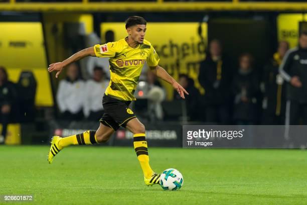 Mahmound Dahoud of Dortmund controls the ball during the Bundesliga match between Borussia Dortmund and VfL Wolfsburg at Signal Iduna Park on January...