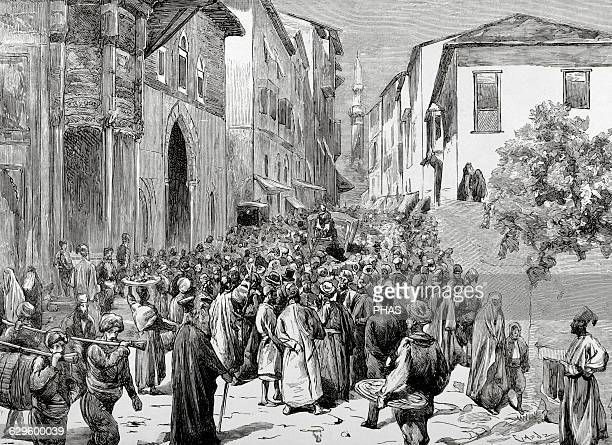 Mahmud Nedim Pasha Ottoman statesman Demonstration and protests in the streets of Istanbul against Minister Engraving by Capuz La Ilustracion...