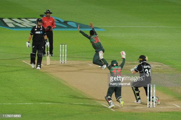 Mahmud Ullah of Bangladesh appeals during Game 1 of the One Day International series between New Zealand v Bangladesh at McLean Park on February 13...