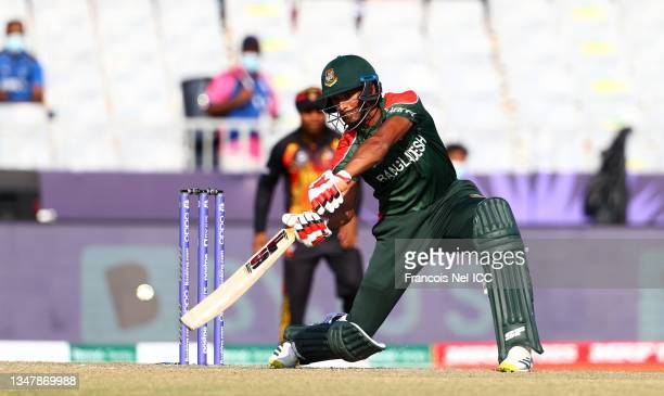 Mahmudulah of Bangladesh plays a shot during the ICC Men's T20 World Cup match between Bangladesh and PNG at Oman Cricket Academy Ground on October...