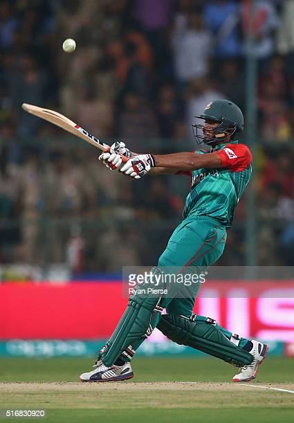 Mahmudullah of Bangladesh bats during the ICC World Twenty20 India 2016 Super 10s Group 2 match between Australia and Bangladesh at M. Chinnaswamy...