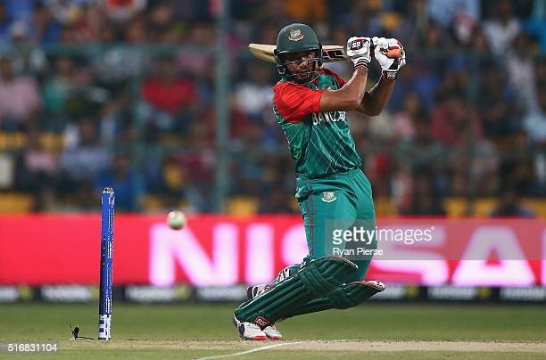 Mahmudullah of Bangladesh bats during the ICC World Twenty20 India 2016 Super 10s Group 2 match between Australia and Bangladesh at M Chinnaswamy...