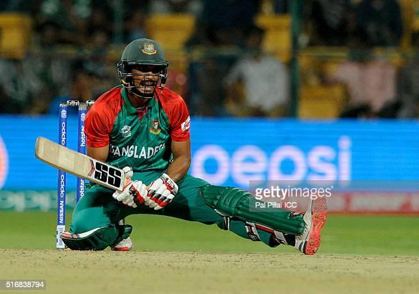 Mahmudullah of Bangladesh bats during the ICC World Twenty20 India 2016 match between Australia and Bangladesh at the Chinnaswamy stadium on March...