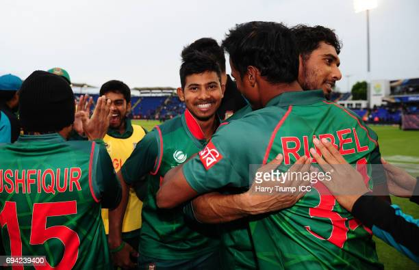 Mahmudullah of Bangladesh celebrates at the end during the ICC Champions Trophy match between New Zealand and Bangladesh at the SWALEC Stadium on...