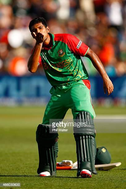Mahmudullah of Bangladesh celebrates his century during the 2015 ICC Cricket World Cup match between Bangladesh and New Zealand at Seddon Park on...