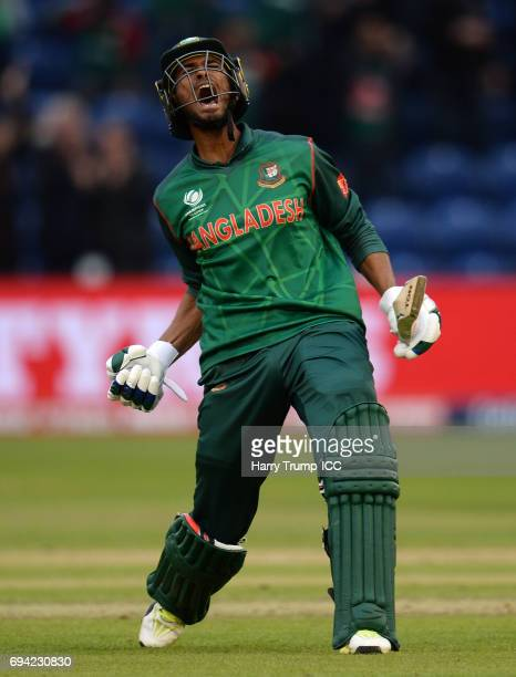 Mahmudullah of Bangladesh celebrates victory during the ICC Champions Trophy match between New Zealand and Bangladesh at the SWALEC Stadium on June 9...