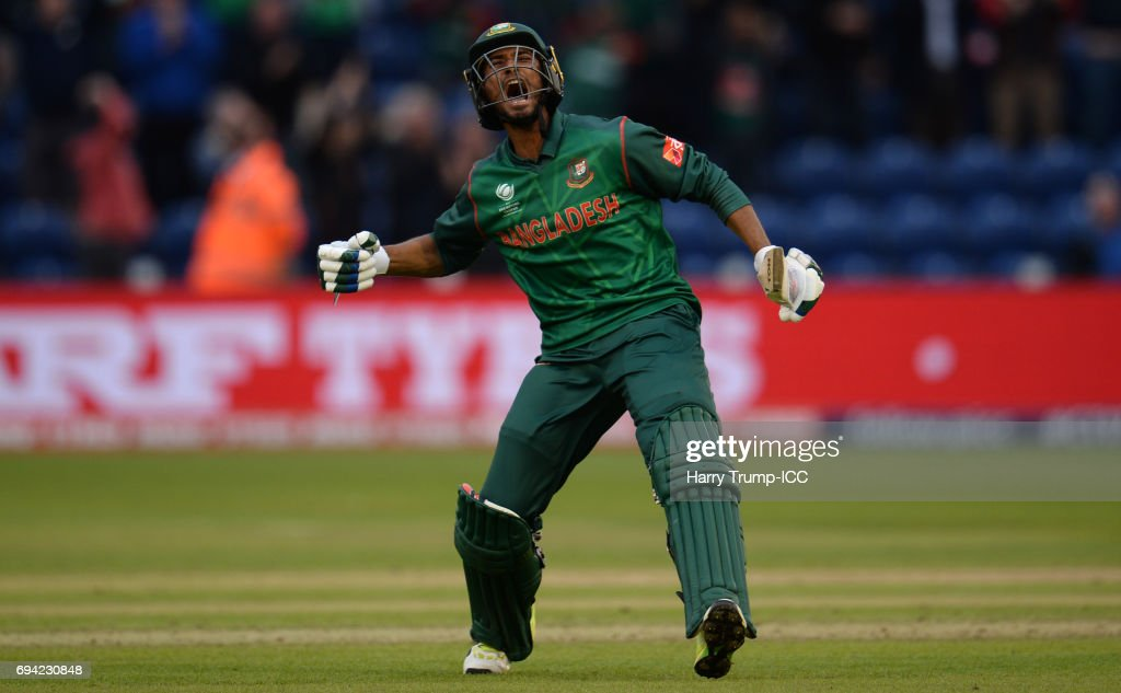 Mahmudullah of Bangladesh celebrates victory during the ICC Champions Trophy match between New Zealand and Bangladesh at the SWALEC Stadium on June 9, 2017 in Cardiff, Wales.