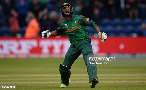 Mahmudullah of Bangladesh celebrates victory during the ICC Champions Trophy match between New Zealand and Bangladesh at the SWALEC Stadium on June...