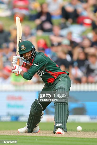 Mahmudullah of Bangladesh during game one of the International T20 series between New Zealand and Bangladesh at Seddon Park on March 28, 2021 in...