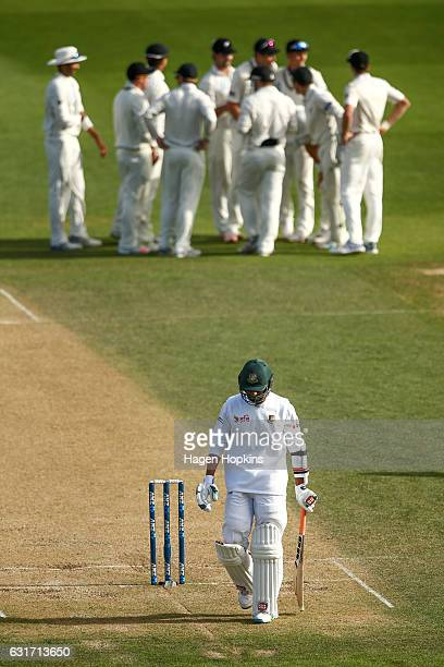 Mahmudullah of Bangladesh leaves the field after being dismissed during day four of the First Test match between New Zealand and Bangladesh at Basin...