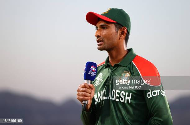 Mahmudullah of Bangladesh looks on ahead of the ICC Men's T20 World Cup match between Bangladesh and Oman at Oman Cricket Academy Ground on October...