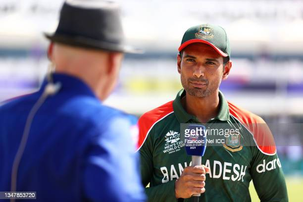 Mahmudullah of Bangladesh looks on as they are interviewed ahead of the ICC Men's T20 World Cup match between Bangladesh and PNG at Oman Cricket...