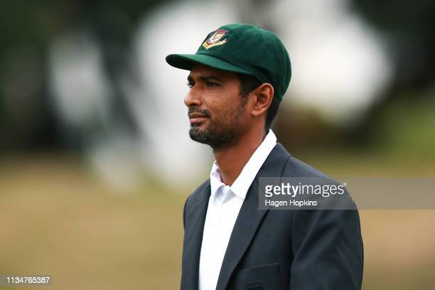 Mahmudullah of Bangladesh looks on during day three of the second test match in the series between New Zealand and Bangladesh at Basin Reserve on...