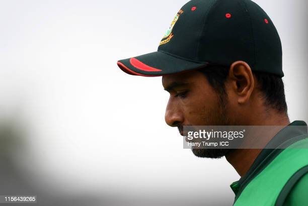 Mahmudullah of Bangladesh looks on during the Group Stage match of the ICC Cricket World Cup 2019 between West Indies and Bangladesh at The County...