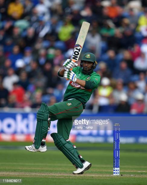 Mahmudullah of Bangladesh plays a shot during the Group Stage match of the ICC Cricket World Cup 2019 between England and Bangladesh at Cardiff Wales...