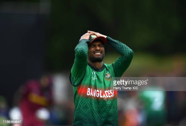 Mahmudullah of West Indies reacts to a missed chance during the Group Stage match of the ICC Cricket World Cup 2019 between West Indies and...
