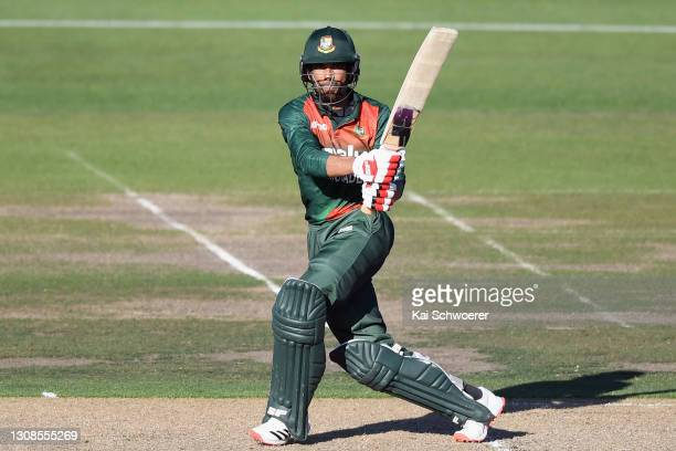 Mahmudullah Riyad of Bangladesh bats during game two of the One Day International series between New Zealand and Bangladesh at Hagley Oval on March...