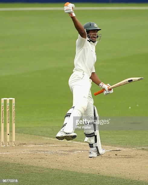 Mahmudullah Riyad of Bangladesh celebrates his century during day three of the First Test match between New Zealand and Bangladesh at Seddon Park on...
