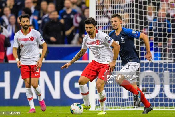 Mahmut Tekdemir of Turkey Ozan Tufan of Turkey Clement Lenglet of France during the UEFA EURO 2020 qualifier group C qualifying match between France...